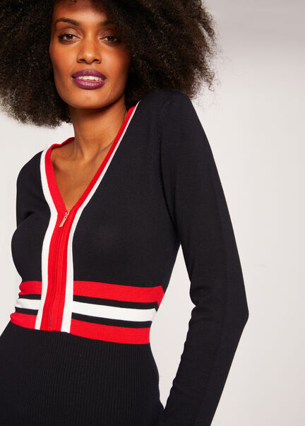 Pull manches longues zippe a bandes marine femme