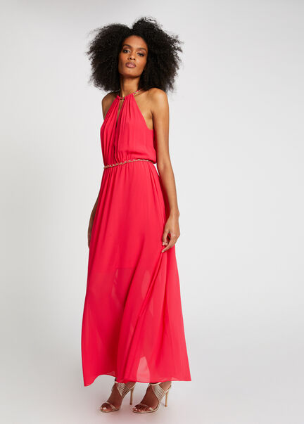 Robe longue evasee details chaines framboise femme