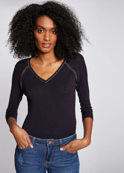 Pull manches longues details ajoures marine femme