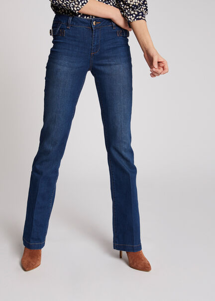Jeans bootcut taille standard a boucles jean stone femme