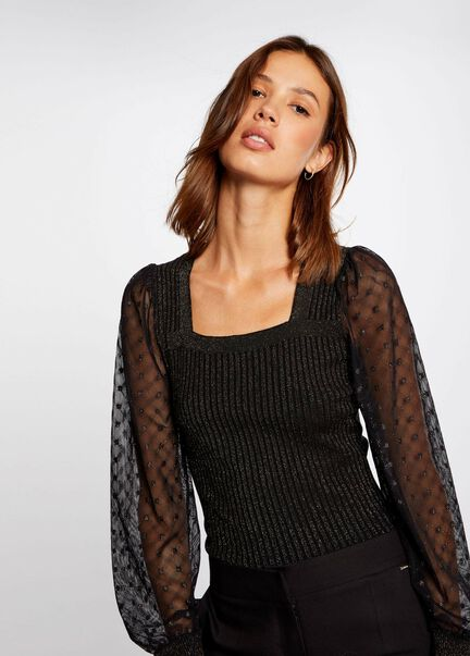 Pull manches longues a encolure carree rouille femme
