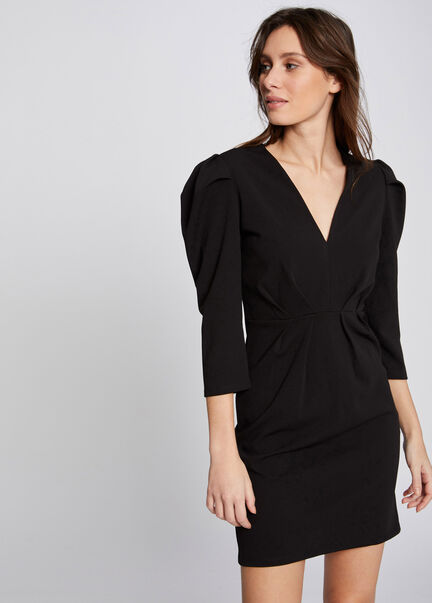 Robe ajustee a manches 34 froncees noir femme