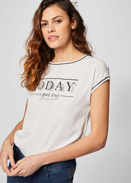 T shirt Morgan a message et strass ecru femme