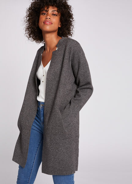 Gilet a manches longues gris anthracite femme