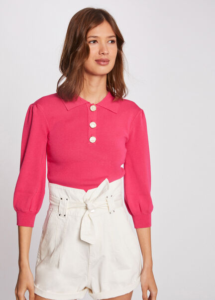 Pull manches 34 avec col a revers rose femme