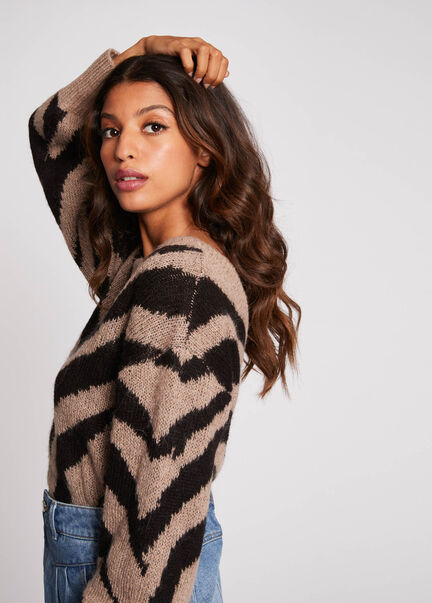 Pull manches longues imprime zebre taupe femme
