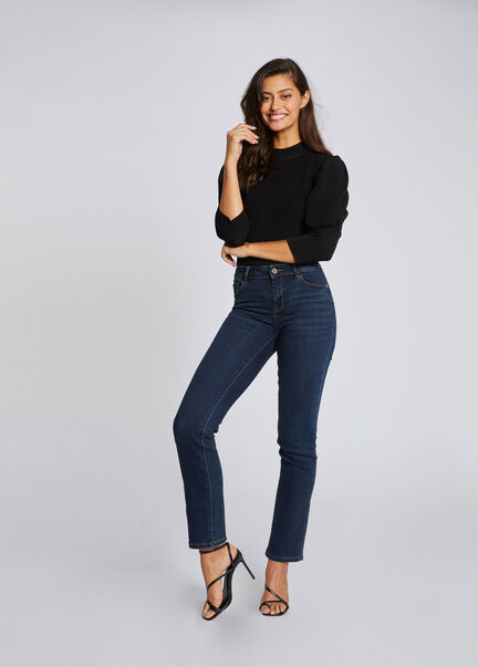 Jeans regular taille standard a poches marine femme