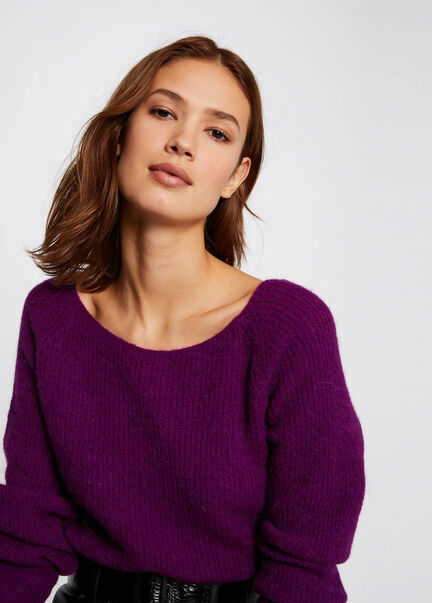 Pull manches longues avec col rond violet femme