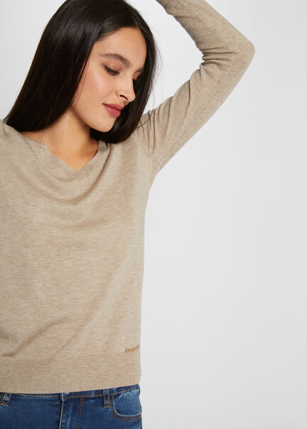 Pull manches longues detail chaine beige femm