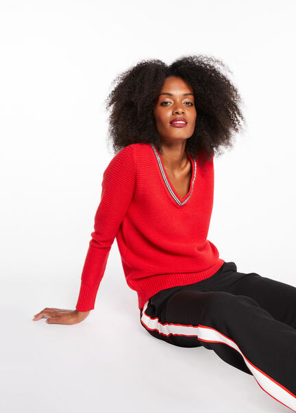Pull manches longues detail metallise rouge femme
