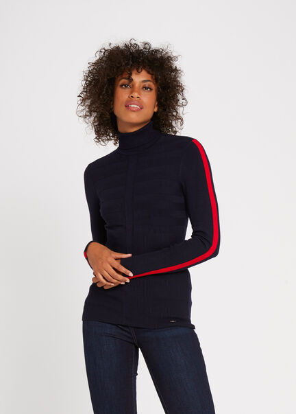 Pull manches longues bande contrastante rouge femme