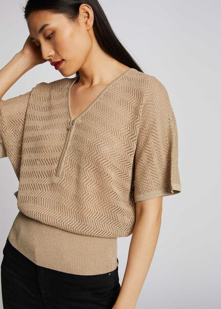 Pull manches courtes tricotage ajoure mastic femme