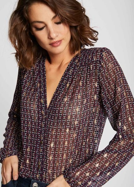 Chemise manches longues detail metallise marine femme