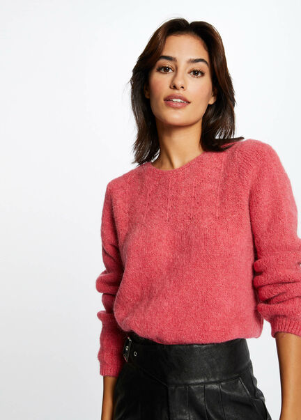 Pull manches longues avec col rond framboise femme