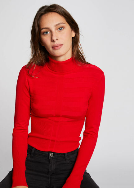 Pull manches longues col roule multico femme