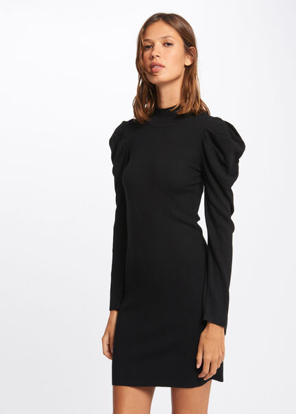 Robe pull ajustee a manches froncees noir femme