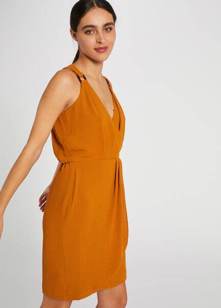 Robe droite effet portefeuille moutarde femme