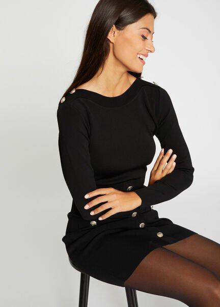 Robe pull ajustee a boutons noir femme