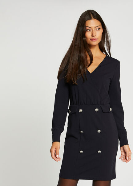 Robe ajustee manches longues a pont marine femme