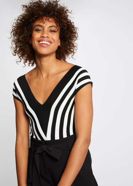 Pull manches courtes a rayures noir femme