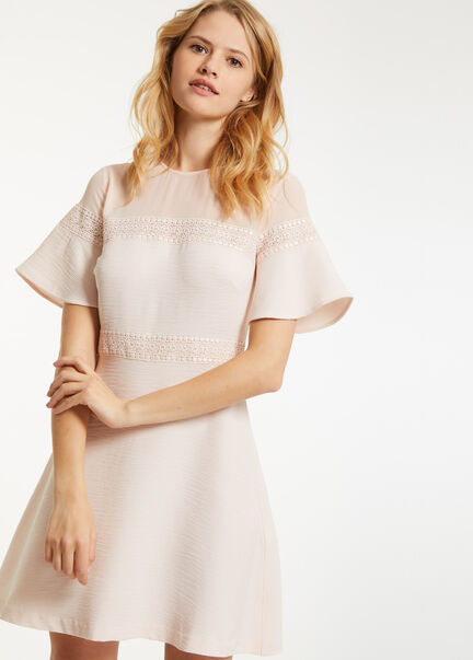 Robe trapeze a dentelle rose pale femme