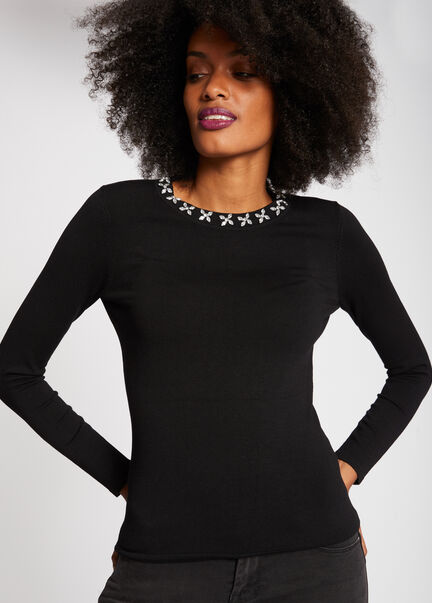 Pull manches longues col a strass noir femme