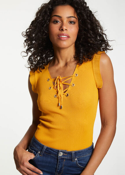 Debardeur maille manches volants ocre femme