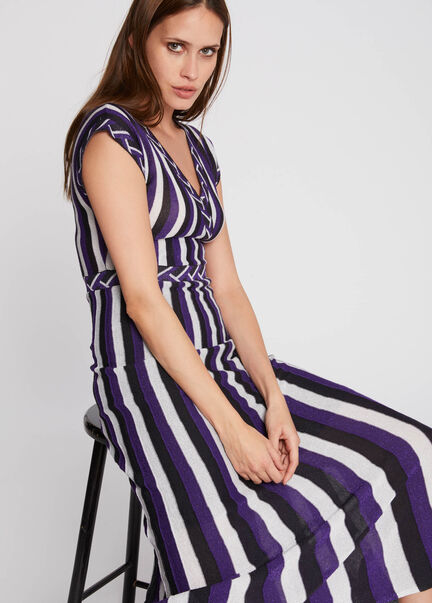 Robe maille longue cintree a rayures violet femme