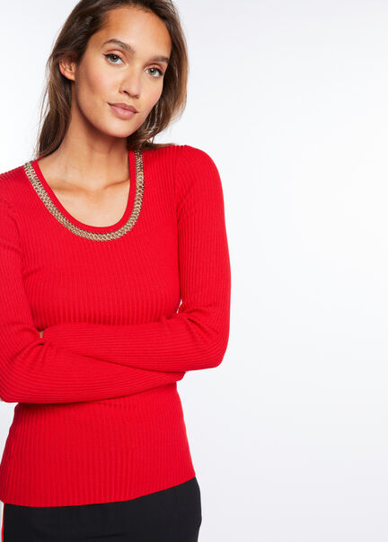 Pull manches longues col detail chaines rouge femme