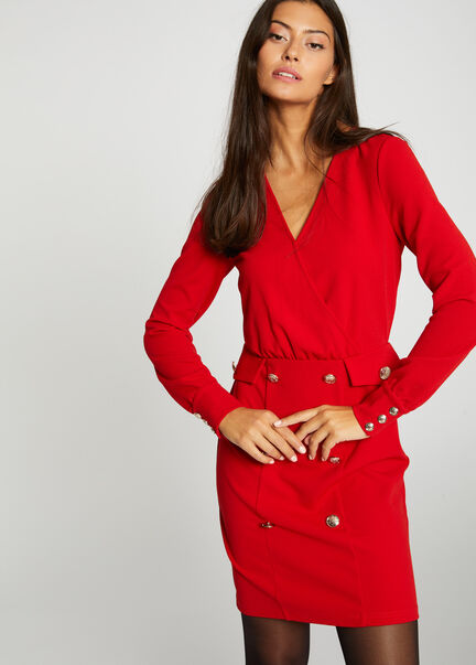 Robe ajustee manches longues a pont rouge femme