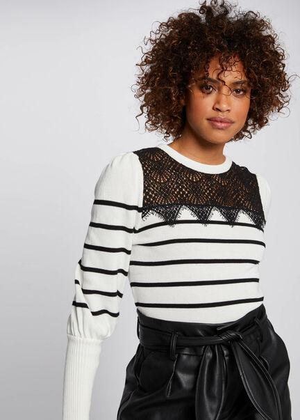 Pull manches longues a rayures ecru femme