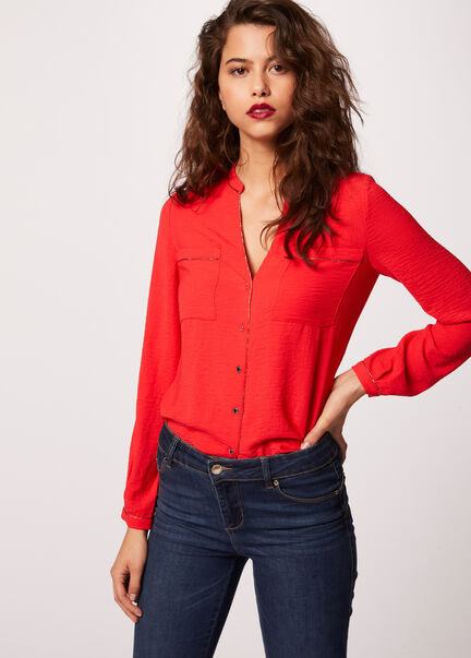Chemise manches longues poches plaquees rouge femme