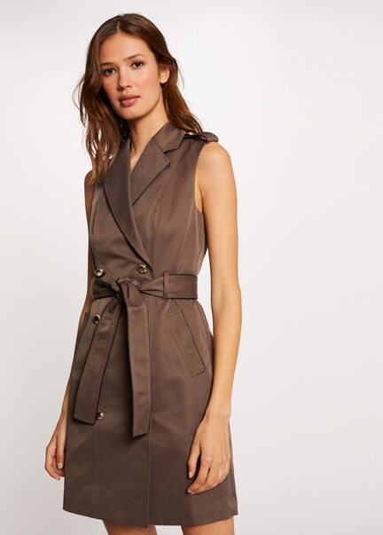 Robe portefeuille sans manches boutonnee taupe femme