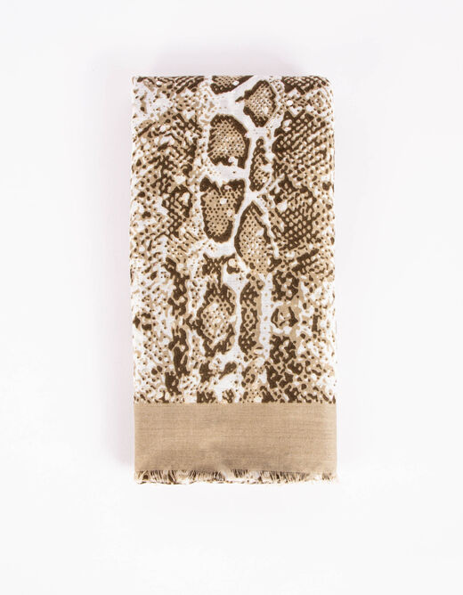 Scarf with snake print and raw edges beis mujer
