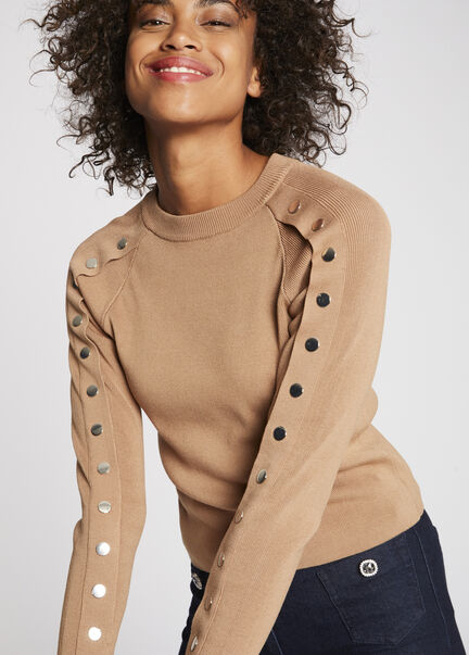 Pull manches longues a boutons pression camel femme