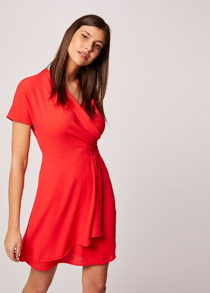 Robe patineuse manches courtes rouge femme