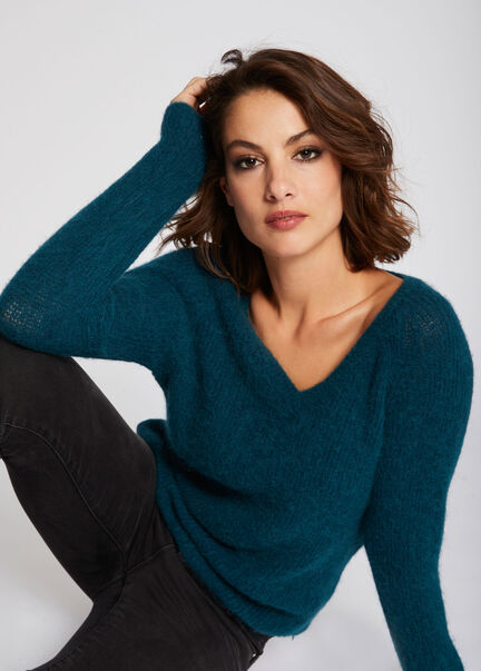 Pull manches longues maille duveteuse vert canard femme