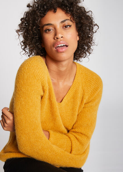 Pull manches longues maille duveteuse ocre femme