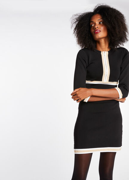 Robe pull ajustee manches 34 noir femme