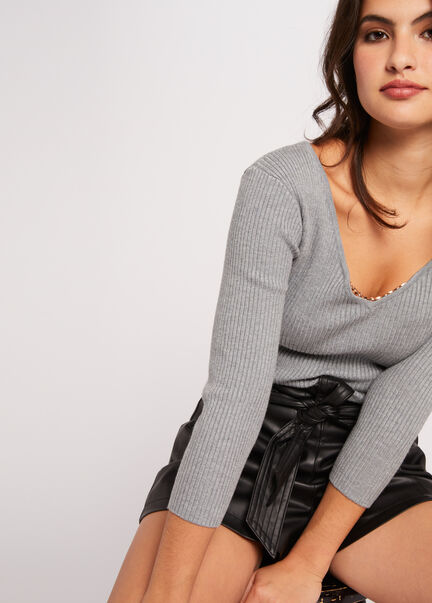 Pull manches 34 a ornement metallique gris anthracite femme