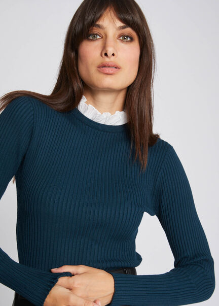 Pull manches longues col fronce vert fonce femme