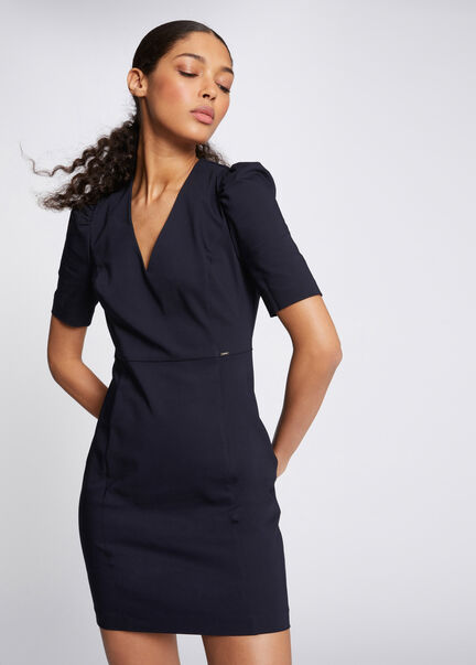 Robe ajustee a manches courtes marine femme