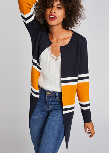 Gilet manches longues a rayures marine femme