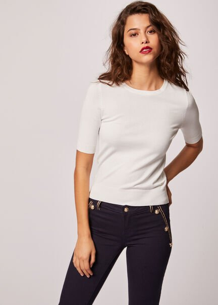 Pull manches courtes dos boutonne ecru femme