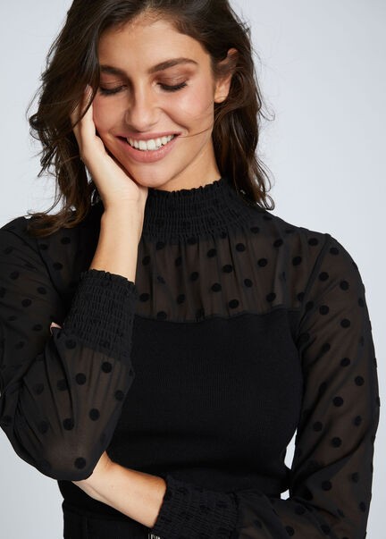 Pull manches longues details smockes noir femme