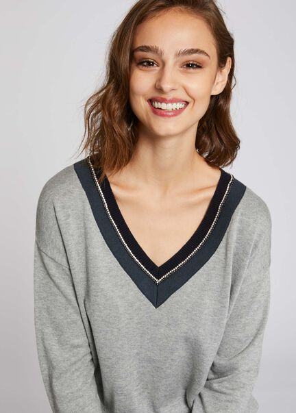 Pull manches longues col contrastant gris moyen femme