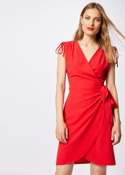 Robe portefeuille ajustee rouge femme