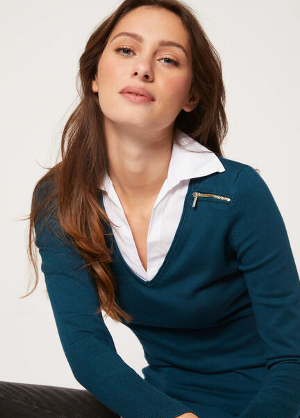 Pull manches longues avec col superpose vert canard femme