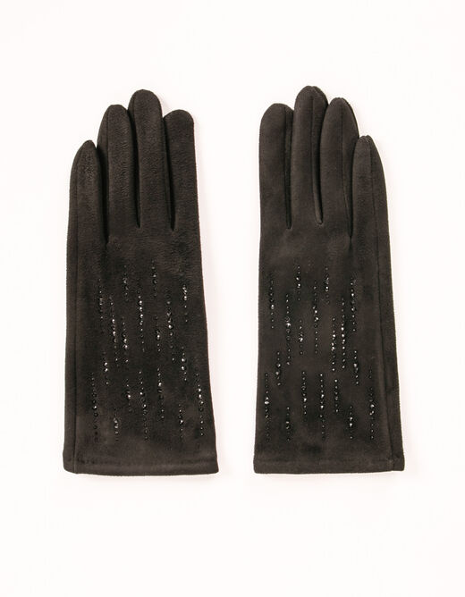 Guantes con strass negro mujer