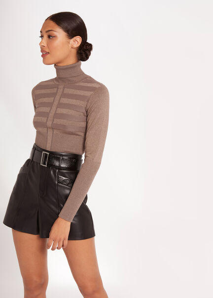 Pull manches longues a col roule taupe femme